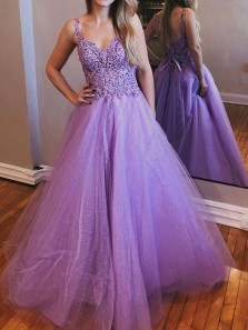 Elegant A-Line V Neck Open Back  Lavender Tulle Long Prom Dresses with Appliques,Formal Evening Party Dresses
