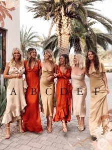 Boho Sheath Silk Satin Bridesamid Dresses Mismatched Wedding Party Dresses
