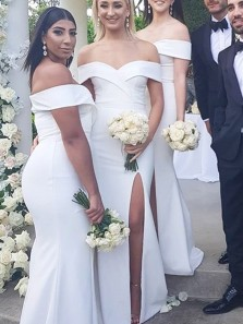 Elegant Sheath Off the Shoulder White Black Long Bridesmaid Dresses with High Split