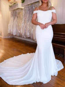 Elegant Mermaid Off the Shoulder White Chiffon Boho Beach Wedding Dresses with Straps