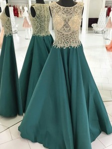 A-Line Crew Sweep Train Dark Green Satin Sleeveless Prom Dress with Beading