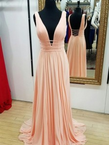 A-Line Deep V-Neck Sweep Train Peach Chiffon Backless Prom Dress