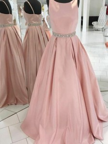 A-Line Crew Sweep Train Pink Satin Sleeveless Prom Dress with Beading