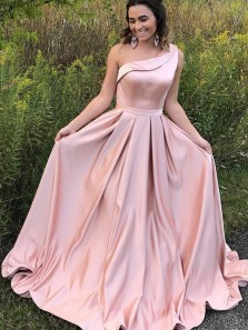 A-Line One-Shoulder Sweep Train Pink Satin Sleeveless Ruffles Prom Dress