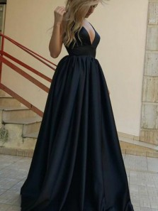 A-Line Deep V-Neck Sweep Train Navy Blue Satin Sleeveless Prom Dress