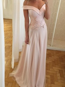 A-Line Off-the-Shoulder Sweep Train Pearl Pink Tulle Prom Dress with Appliques
