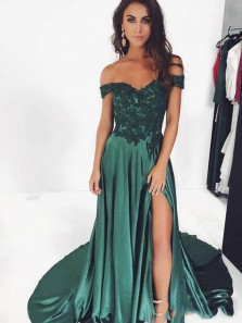 Elegant A-Line Off the Shoulder Open Back Green Satin Long Prom Dresses Appliques,Formal Evening Party Dresses
