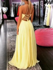 Fairy A-Line V Neck Cross Back Chiffon Long Prom Dresses with Slit