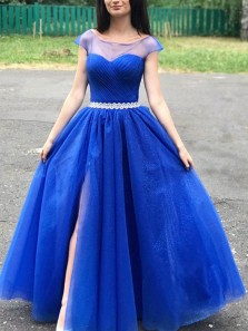 Elegant A-Line Boat Neck Cap Sleeves Royal Blue Sparkly Prom Evevening Dresses with Split