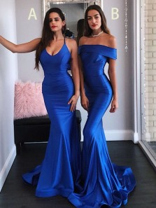 Sexy Mermaid Off the Shoulder Open Back Royal Blue Elastic Satin Long Prom Dresses with Train,Formal Evening Party Dresses