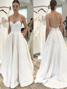 Simple V Neck Cross Back White Satin Wedding Dresses with Pockets,Beach Wedding Gown