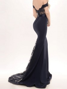 Mermaid Off-the-Shoulder Sweep Train Black Stretch Satin Prom Dress with Appliques Lace