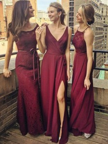 A-Line V-Neck Floor-Length Grape Chiffon Bridesmaid Dress wtih Split