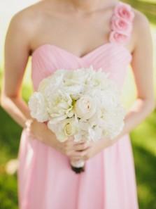 Fabulous One-shoulder Long Chiffon Bridesmaid Dress with Handmade Flowers