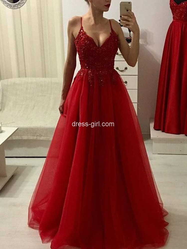 7755e4b47ea Charming A-Line V Neck Spaghetti Straps Open Back Dark Red Tulle Long Prom  Dresses with Beading