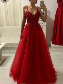 Charming A-Line V Neck Spaghetti Straps Open Back Dark Red Tulle Long Prom Dresses with Beading,Formal Prom Dresses
