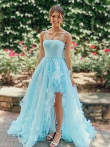 Princess A-Line Spaghetti Straps Blue Tulle Long Prom Dresses Formal Evening Dresses