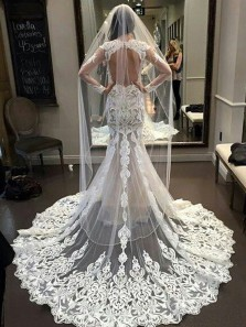 2018 Latest Gorgeous Long Sleeves Open Back Mermaid Long Lace Wedding Dress
