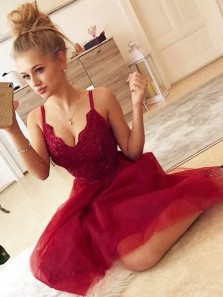 Cute A-Line V Neck Backless Burgundy Tulle Short Prom Dresses,Cocktail Party Dresses Homecoming Dresses