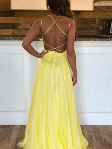 Gorgeous A-Line Scoop Neck Criss Cross Back Yellow Chiffon Long Prom Dresses with Beading,Formal Evening Party Dresses