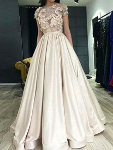 Stunning A-Line Scoop Neck Short Sleeve Champagne Satin Long Prom Dresses with Pockets,Formal Party Gown