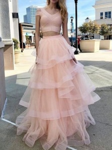 Gorgeous Two Piece V Neck Short Sleeve Light Pink Tulle Long Prom Dresses,Tiered Sweet 16 Party Dresses,Girls Junior Graduation Gown