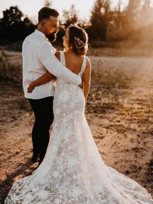 Romantic Mermaid V Neck Open Back Lace Wedding Dresses with Front Split