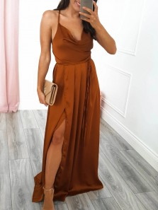 Simple A-Line Cowl Neck Cross Back Caramel Satin Long Prom Evening Dresses with Split,Formal Party Dresses
