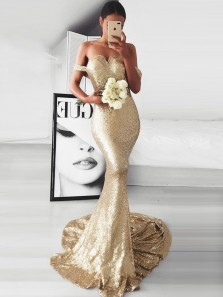 Mermaid Off-the-Shoulder Sweep Train Champagne Sequined Prom Dress