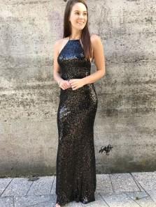 Mermaid Spaghetti Straps Black Sequined Backless Prom Dress