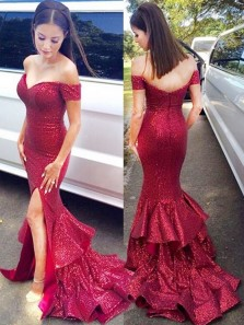 Mermaid Off-the-Shoulder Sweep Train Red Sequined Prom Dress with Ruffles
