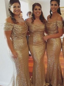 Mermaid Off-the-Shoulder Short Sleeves Sweep Train Gold Sequined Prom Dress