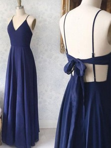 Simple A-Line V Neck Spaghetti Straps Open Back Navy Blue Chiffon Long Prom Dresses,Evening Party Dresses