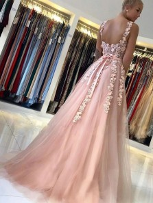Gorgeous A-Line Sweetheart Open Back Pink Tulle Prom Dresses with Appliques