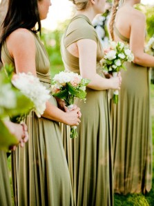 Simple A-Line Convertible Sage Green Long Bridesmaid Dresses.Boho Wedding Party Dresses