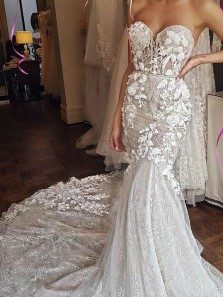 Gorgeous Mermaid Sweetheart Tulle Wedding Dresses with Appliques