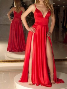 Chic A-Line V Neck Open Back Red Satin Long Prom Dresses with Side Split,Sexy Evening Party Dresses