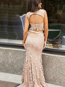 Two Piece Crew Sweep Train Blush Lace Open Back Prom Dress with Sequins