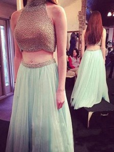 Gorgeous Two-pieces Beading Halter Neck Prom Dress-Tulle Sleeveless Long Prom Dress