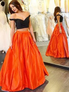 Sexy Two-piece Prom Dress – Off-the-shoulder Satin Dress Different Color Prom Dress