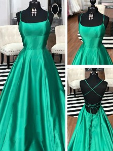 Simple A-Line Scoop Neck Cross Back Green Satin Long Prom Dresses,Evening Party Dresses Under 100
