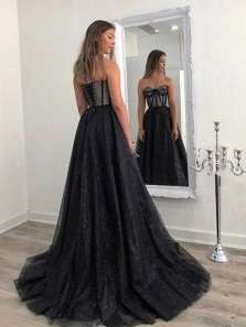 Charming A-Line Sweetheart Black Tulle Long Prom Dresses,Glitter Evening Party Dresses 20201038