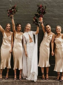 Cheap Sheath Cowl Neck Champagne Silk Satin Tea Length Bridesmaid Dresses Under 100