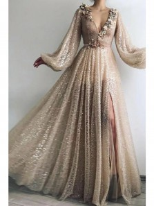 Shiny A-Line V Neck Long Sleeve Champagne Sequins Long Prom Evening Dresses with High Slit