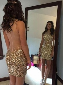 Modest Bodycon Round Neck Sleeveless Gold Beaded Short Homecoming Dresses,Cocktail Party Dresses