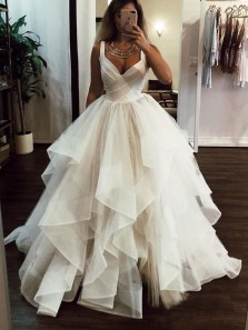 Gorgeous A-Line V Neck Open Back White Tulle Wedding Dresses