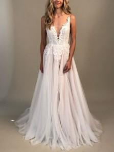 Gorgeous A-Line V Neck Open Back Ivory Tulle Wedding Dresses