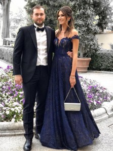 Stunning A-Line Round Neck Cap Sleeves Navy Blue Lace Long Prom Dresses,Evening Party Dresses