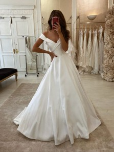 Gorgeous A-Line Off the Shoulder Ivory Satin Wedding Dresses with Pockets