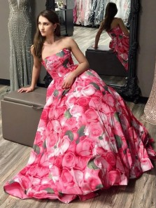 Charming A-Line Strapless Floral Print Long Prom Dresses,Formal Party Gown